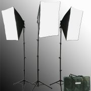 Fancierstudio 2400 Watt Photo Studio Kit Light Kit Lighting Kit With 6'x9' Black White Muslin Backdrop and Background Stand By Fancierstudio UL9004S3-69BWG-579