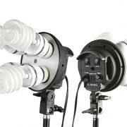 Fancierstudio 2400 Watt Photo Studio Kit Light Kit Lighting Kit With 6'x9' Black White Muslin Backdrop and Background Stand By Fancierstudio UL9004S3-69BWG-577