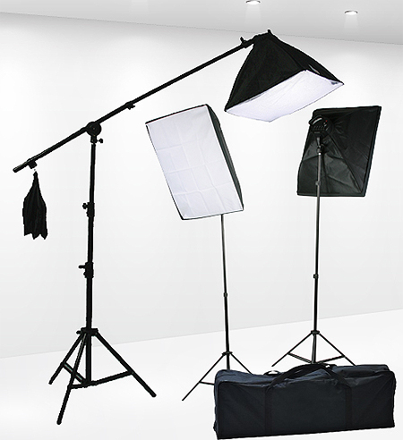 Fancierstudio Light Kit 2000 Watt Photo Video Lighting Kit with Hairlight Boomstand by Fancierstudio U9004SB-10x12BWG-572