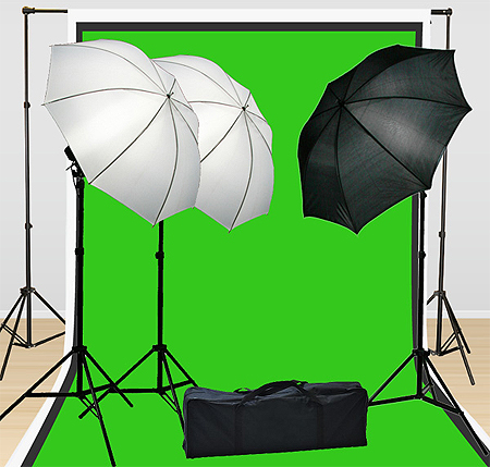 Fancierstudio Lighting Kit 3 Point Lighting Kit With Three 6'x9' Muslin Backdrop And Background Stand By Fancierstudio FH4046-584