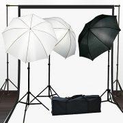 Fancierstudio Light Kit Lighting Kit Three Umbrella Three Muslin Backdrop And Background Support Stand With Three Light And Lightstand By Fancierstudio FH4050-0