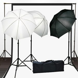 Fancierstudio Light Kit Lighting Kit Three Umbrella Three Muslin Backdrop And Background Support Stand With Three Light And Lightstand By Fancierstudio FH4050-0