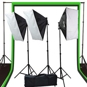Fancierstudio 2400 Watt Photo Studio Kit Light Kit Lighting Kit With 6'x9' Black White Muslin Backdrop and Background Stand By Fancierstudio UL9004S3-69BWG-0