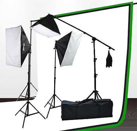 Fancierstudio Light Kit 2000 Watt Photo Video Lighting Kit with Hairlight Boomstand by Fancierstudio U9004SB-10x12BWG-571