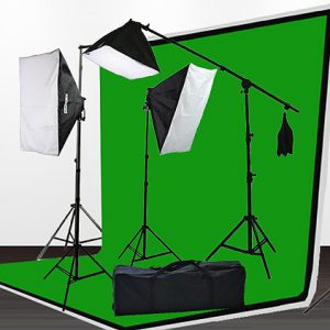 Fancierstudio 2000 watt lighting kit softbox light kit video lighting kit with Background stand 6'x9' Black, White and Chromakey green backdrop by Fancierstudio UL9004SB 6x9BWG-0