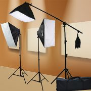 Fancierstudio 2000 watt lighting kit softbox light kit video lighting kit with Background stand 6'x9' Black, White and Chromakey green backdrop by Fancierstudio UL9004SB 6x9BWG-559