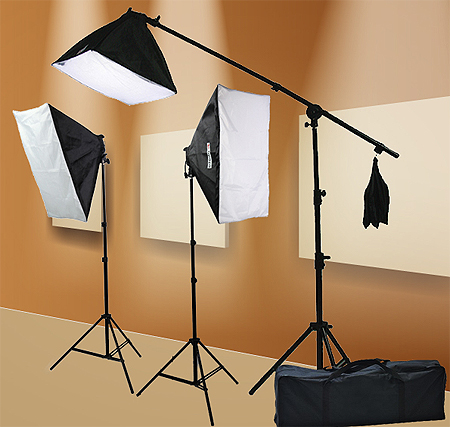 Fancierstudio 2000 watt lighting kit softbox light kit video lighting kit with Background stand 6'x9' Black, White and Chromakey green backdrop by Fancierstudio UL9004SB 6x9BWG-559