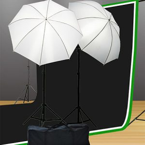 Fancierstudio Lighting Kit Light Kit Background Stand Chromakey Green Screen, Black Muslin Backdrop, White Muslin Backdrop Kit By Fancierstudio U69BWG-0