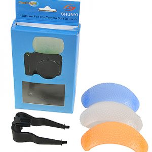 Fancierstudio Soft Pop-Up SLR Flash Diffuser for Canon EOS, Nikon, Olympus, & Pentax On-Camera Flashes with White, Blue (Cooling), & Orange (Warming) Screens -646