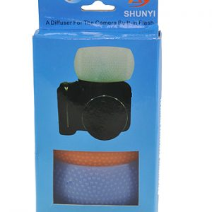 Fancierstudio Soft Pop-Up SLR Flash Diffuser for Canon EOS, Nikon, Olympus, & Pentax On-Camera Flashes with White, Blue (Cooling), & Orange (Warming) Screens -645