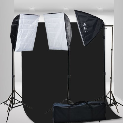 3 Softbox Continuous Photograpy Photo Video Studio Lighting Kit Large Muslin support stand Set H9004S3-1020B-0