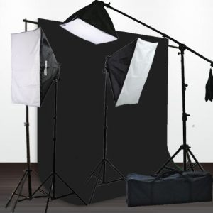 10 x 12 Portrait Muslin Background Support Boom Stand Hair light Photo Video Photography 3 Softbox Lighting Kit-0