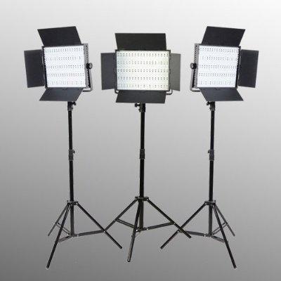 3 Panel 600 LED Lighting Kit Photograph Video Light Panel with Light Stand Kit Sony V Mount adapter-0