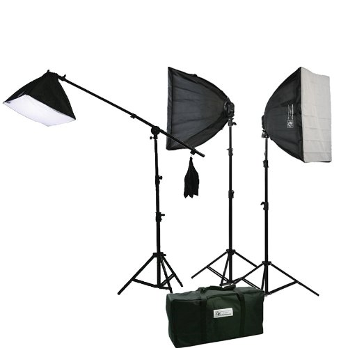3200 Watt Continuous Photography Video Studio 3 Softbox Boom Stand Digital video Hair Lighting Kit H604SB2-0