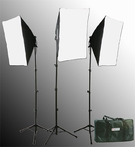 2400 Watt Chromakey Green Screen Video Lighting Kit VL9004S3 +TB Green Kit-111