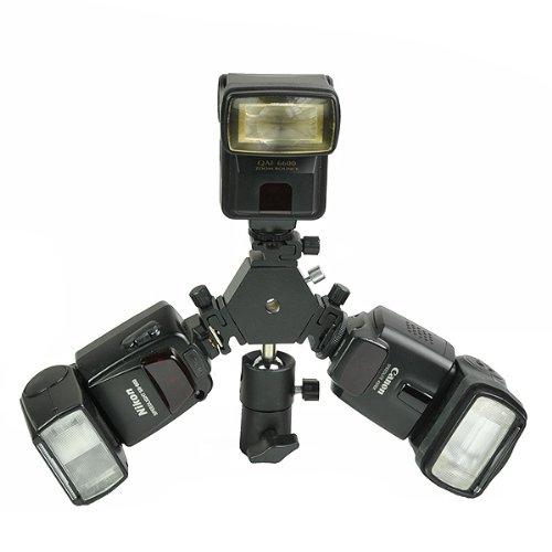 H6704 Triple Hotshoe Mount Flash Bracket 3-Way with Umbrella holder for Nikon Canon Pentax Sigma-0