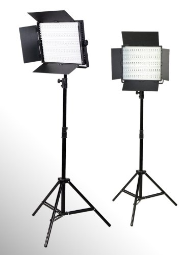 2 x 600 LED Photo Video Light Lighting Video Panel Light Stand Kit-0