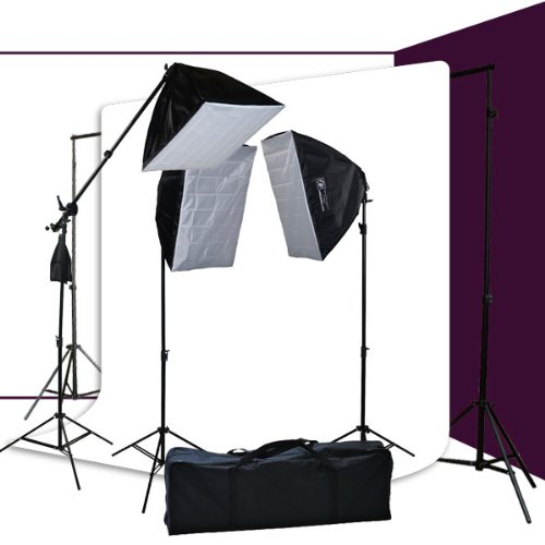 3200 Watt Softbox Photo Video Studio Portrait Lighting & 10x12 White Muslin Backdrop Support Stand Set H604SB2-1012W-0