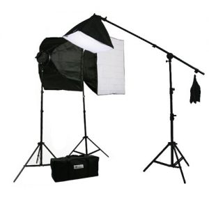 3800 Watt Digital Video Continuous Light 3 Softbox Boom Stand Hair Lighting Kit and Case H9060SB4-0