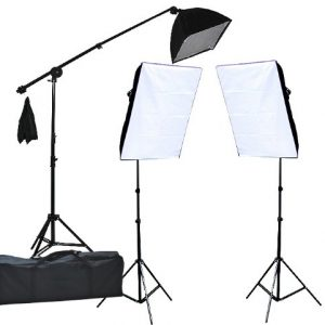 2400 Watt Lighting Kit With Boom Arm Hairlight Softbox Lighting Kit 9004SB2-0