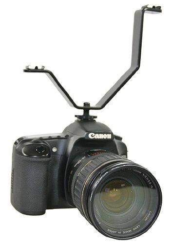 Dual Mount Light And Sound Bracket, Camcorder Dual Mount Bracket for Video Lights and Microphones V Bracket-1277