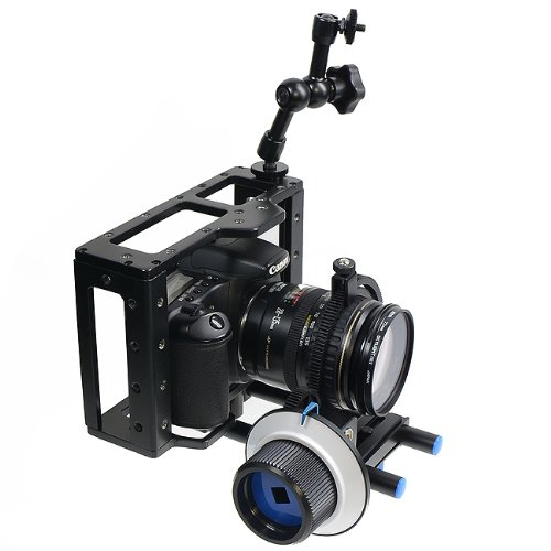 DIGITAL DSLR Video Camera Cage Bracket Stabilizer Bundle, Follow Focus, Friction Arm CAGEFOCUS-0