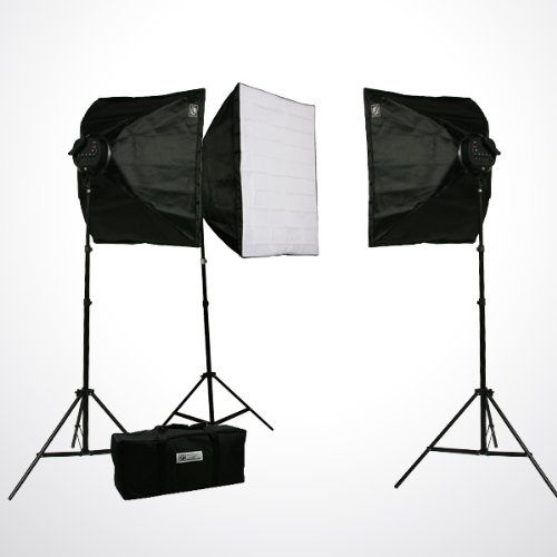 Pro Studio Video 4500W Digital Photography Studio 3 Softbox Lighting Kit Light Set and Carrying Case H9060S3-0