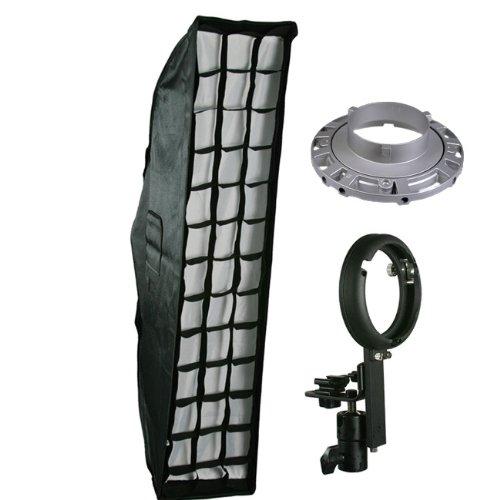 "Off Camera Flash Strip Softbox Honeycomb Grid Beehive Strip Soft Box 8"" x 36"" for Nikon Canon Speedlight Flashes LBW2290GD-0"