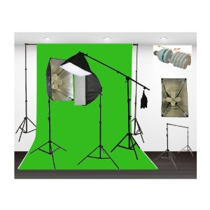 Three Softbox 2700 Watt Photography Video Hair Boom Light Lighting Kit 10x12 Chromakey GREEN Muslin Background Support Stand Case Kit H604SB-1012G-1365