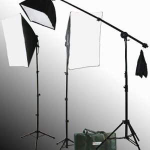 2000 Watt Lighting Kit With Boom Arm Hairlight Softbox Lighting Kit-0