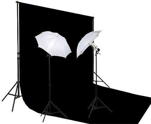 10' X 20' Black Muslin Backdrop Umbrella Softbox Lighting Kit K15 10x20Black-0