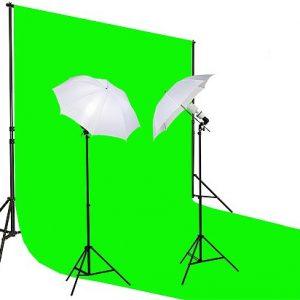 10x20 Ft Chroma Key Green Screen Photo Video Lighting Kit K15 10x20Green-0