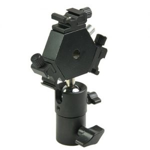 H6704 Triple Hotshoe Mount Flash Bracket 3-Way with Umbrella holder for Nikon Canon Pentax Sigma-1259