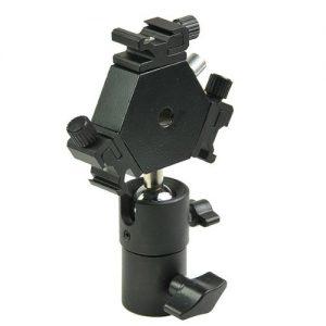 H6704 Triple Hotshoe Mount Flash Bracket 3-Way with Umbrella holder for Nikon Canon Pentax Sigma-1259