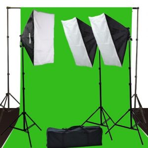 10 x 12 ChromaKey Green Screen Digital Photography Video Continuou Lighting Background Support Kit H9004S3-1012G-0