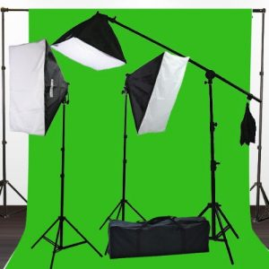 2400 Watt Photography Studio Video Light Lighting 10x20 Green Screen Background Stands Case Kits H9004SB2-1020G-0