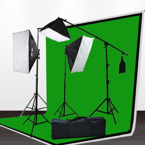 3pcs 6x9 Chromakey Green Black White Screen Muslins Backdrops Background Support Kit 2400 Watt Photography Video Lighting Studio Photo Portrait Lights with Case H9004SB2-69BWG-0