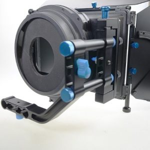 Pro DSLR RIG FOLLOW FOCUS Matte Box with 2 Stage 15mm Swing away Arm, Top French Flags & Side Wings, Rubber Donut, Filter Stage and Filter Tray M2-1105
