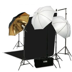 H4049 Triple Lighting Video Photography Light Kit 2 Muslin Support Stands Kit with Case-1465