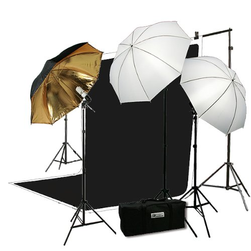 H4049 Triple Lighting Video Photography Light Kit 2 Muslin Support Stands Kit with Case-0