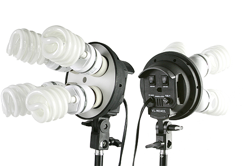 Fancierstudio 2400 Watt Photo Studio Kit Light Kit Lighting Kit With 6'x9' Black White Muslin Backdrop and Background Stand By Fancierstudio UL9004S3-69BWG-577