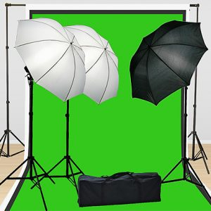 Fancierstudio Lighting Kit 3 Point Lighting Kit With Three 6'x9' Muslin Backdrop And Background Stand By Fancierstudio FH4046-0