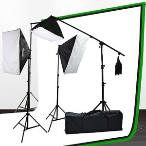 Fancierstudio Light Kit 2000 Watt Photo Video Lighting Kit with Hairlight Boomstand by Fancierstudio U9004SB-10x12BWG-0