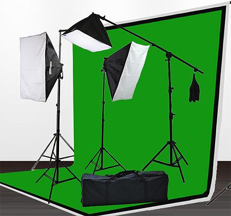 Fancierstudio 2000 watt lighting kit softbox light kit video lighting kit with Background stand 6'x9' Black, White and Chromakey green backdrop by Fancierstudio UL9004SB 6x9BWG-0